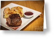 Beef Steak With Potato And Cheese Bake Greeting Card