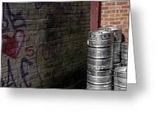 Beer Keggs And Graffiti Greeting Card