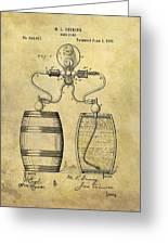 Beer Pump Patent Greeting Card