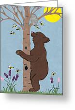Bees And The Bear Greeting Card