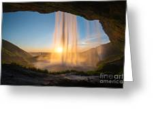 Behind Seljalandsfoss Sunset  Greeting Card