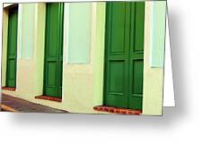 Behind The Green Doors Greeting Card
