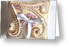 Beige-white Wedding Ring Pillow Greeting Card
