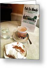 Beignet And Coffee At Cafe Du Monde Greeting Card