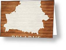 Belarus Rustic Map On Wood Greeting Card