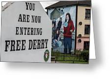 Belfast Mural - Free Derry - Ireland Greeting Card