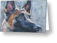 Belgian Malinois In Winter Greeting Card