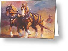 Belgian Team Pulling Horses Painting Greeting Card