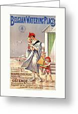 Belgium Ostende Vintage Travel Poster Restored Greeting Card