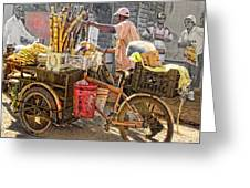 Belize Vendor With Bike Greeting Card