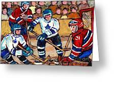 Bell Center Hockey Art Goalie Carey Price Makes A Save Original 6 Teams Habs Vs Leafs Carole Spandau Greeting Card
