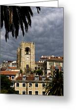 Bell Tower Against Roiling Sky Greeting Card