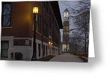 Bell Tower At Night Color Greeting Card