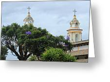 Bell Towers Next To Trees Greeting Card