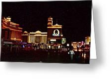Bellagio And Caesar's Palace In Las Vegas-nevada Greeting Card