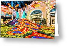 Bellagio Conservatory Fall Peacock Display Side View Wide 2 To 1 Ratio Greeting Card