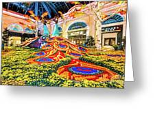 Bellagio Conservatory Fall Peacock Display Side View Wide 2017 Greeting Card
