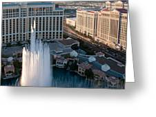 Bellagio Fountains At Dusk Greeting Card by Andy Smy