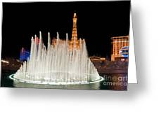 Bellagio Fountains Night 2 Greeting Card by Andy Smy