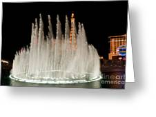 Bellagio Fountains Night 3 Greeting Card by Andy Smy