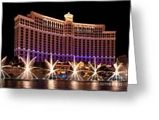 Bellagio Hotel And Casino Greeting Card by Melody Watson