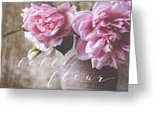 Belle Fleur Pink Peonies Greeting Card