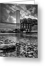 Below The Dam In Black And White Greeting Card