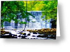 Below The Waterfall Greeting Card