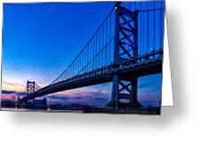 Ben Franklin Bridge At Sunset Greeting Card