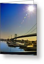 Ben Franklin Bridge From The Marina Greeting Card