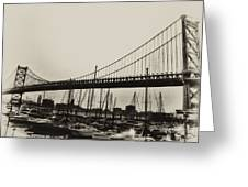 Ben Franklin Bridge From The Marina In Black And White. Greeting Card by Bill Cannon