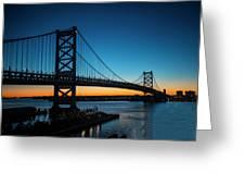 Ben Franklin Bridge In Philadelphia At Dawn Greeting Card