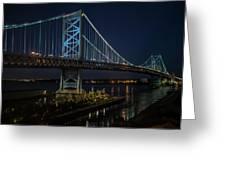 Ben Franklin Bridge In Philadelphia At Night Greeting Card