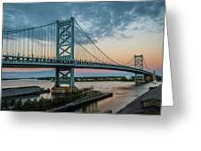 Ben Franklin Bridge In Philadelphia In The Early Morning Greeting Card