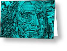 Ben In Wood Turquoise Greeting Card