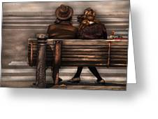 Bench - A Couple Out Of Time Greeting Card