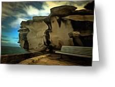 Bench And Huge Overhanging Rock Greeting Card