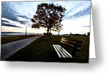 Bench And Street Light Greeting Card