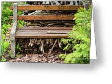 Bench And Wood Pile Greeting Card