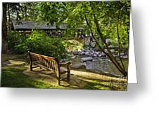 Bench By The Stream IIi Greeting Card