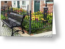 Bench By The Tulips Greeting Card