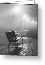 Bench In The Mist Greeting Card