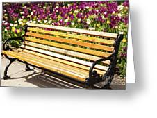 Bench In The Tulips Greeting Card