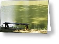 Bench On A Lake Greeting Card