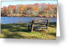 Bench On Lake Greeting Card