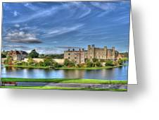 Bench View Of Leeds Castle Greeting Card