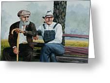 Bench Warmers Greeting Card by Bob Hallmark