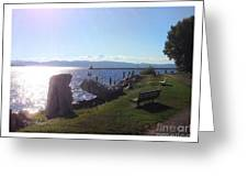 Benches Water Sun And Boat Greeting Card