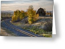 Bend In The Tracks Greeting Card