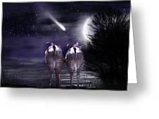 Beneath A Zebra Moon Greeting Card